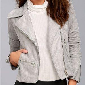 Grey suede moto jacket